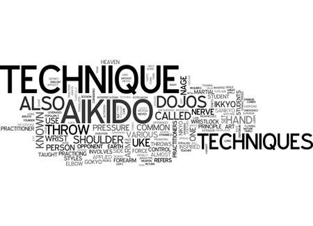 AIKIDO TECHNIQUE TEXT WORD CLOUD CONCEPT Illustration