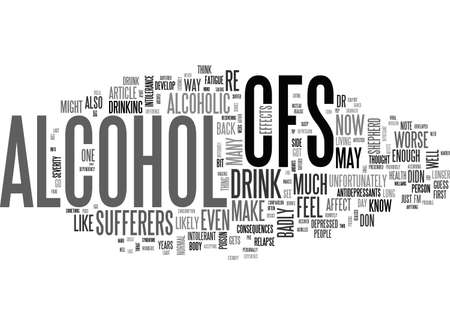 ALCOHOL HOW BADLY CAN IT AFFECT CFS SUFFERERS TEXT WORD CLOUD CONCEPT Иллюстрация