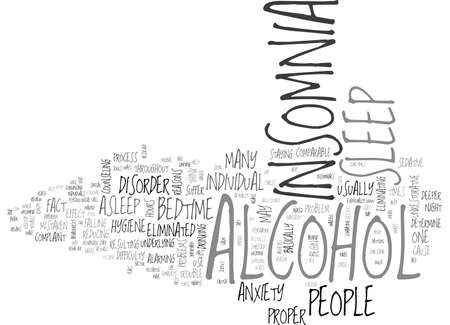 ALCOHOL INSOMNIA CAN BE ELIMINATED TEXT WORD CLOUD CONCEPT