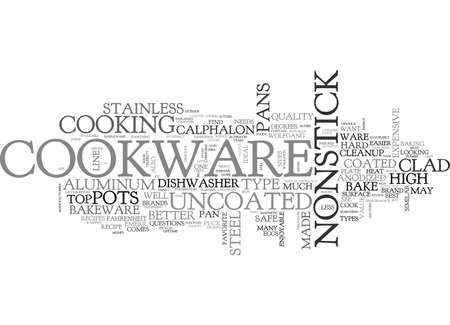 uncoated: BASIC COOKWARE EXPLAINED TEXT WORD CLOUD CONCEPT