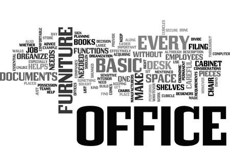 BASIC OFFICE FURNITURE TEXT WORD CLOUD CONCEPT