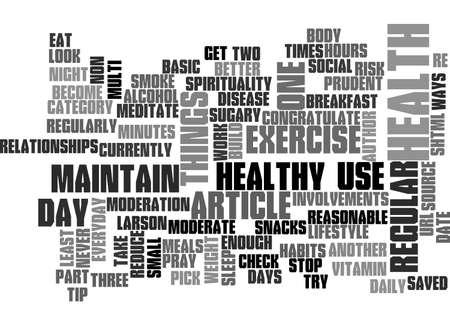 BASIC HEALTH HABITS TEXT WORD CLOUD CONCEPT