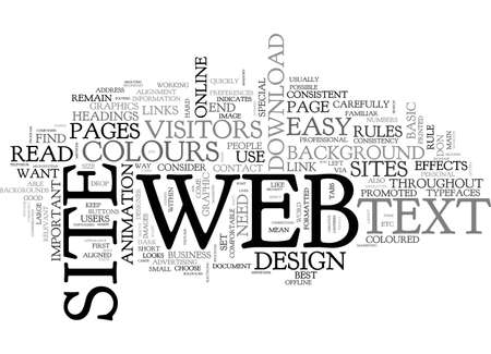 BASIC RULES OF WEB DESIGN TEXT WORD CLOUD CONCEPT