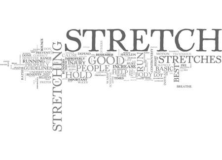 BASIC STRETCHES FOR RUNNERS TEXT WORD CLOUD CONCEPT Иллюстрация