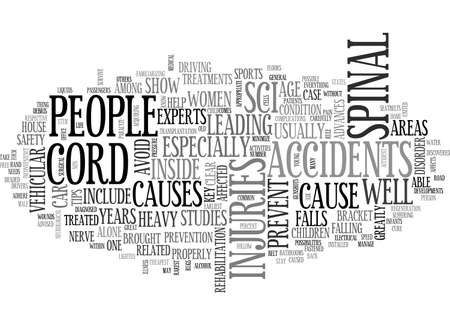 BASIC TIPS TO PREVENT SPINAL CORD INJURIES TEXT WORD CLOUD CONCEPT Ilustrace