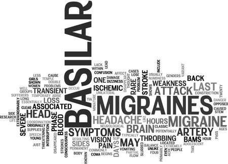 potentially: BASILAR MIGRAINES TEXT WORD CLOUD CONCEPT Illustration
