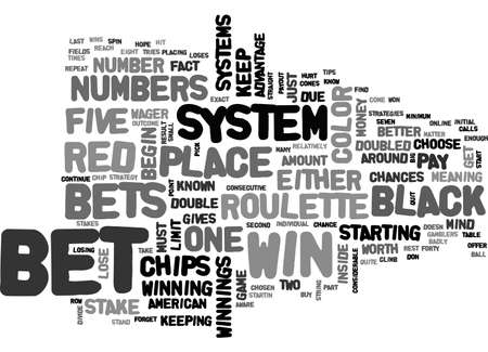 AMERICAN ROULETTE STRATEGY TEXT WORD CLOUD CONCEPT