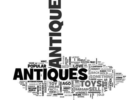 ANTIQUES COLLECTIBLES WHERE TO FIND TEXT WORD CLOUD CONCEPT Иллюстрация