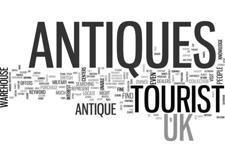 ANTIQUES CONCEPTS ONLINE AND OFF TEXT WORD CLOUD CONCEPT Ilustração