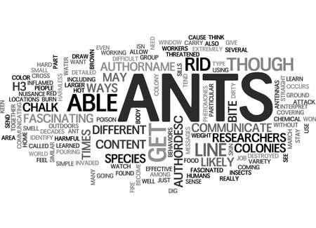 ANTS HOW TO GET RID OF ANT PROBLEMS TEXT WORD CLOUD CONCEPT