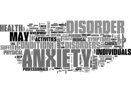 ANXIETY CURE TEXT WORD CLOUD CONCEPT Illustration
