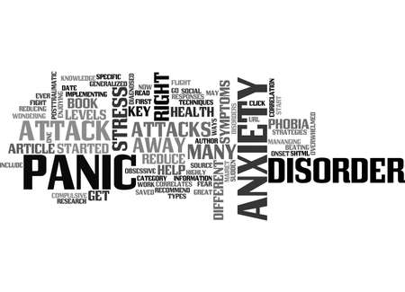 ANXIETY PANIC AND STRESS TEXT WORD CLOUD CONCEPT 向量圖像