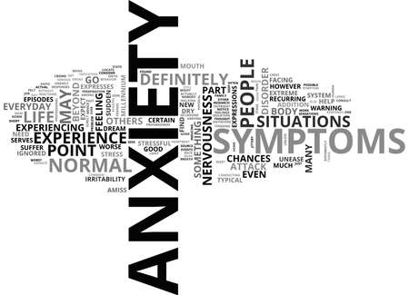 perceived: ANXIETY SYMPTOMS WHAT ANXIETY IS AND WHAT ITS SYMPTOMS ARE TEXT WORD CLOUD CONCEPT