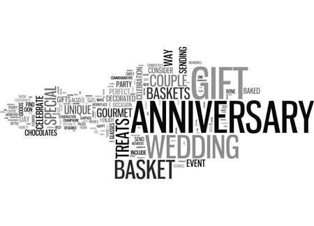 ANNIVERSARY GIFT BASKET TEXT WORD CLOUD CONCEPT