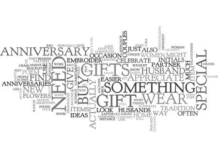 ANNIVERSARY GIFT IDEAS FOR PARENTS TEXT WORD CLOUD CONCEPT 矢量图像