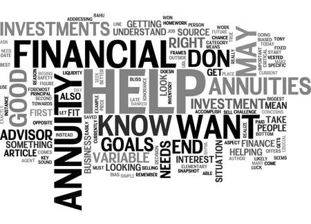 annuity: ANNUITIES TEXT WORD CLOUD CONCEPT Illustration