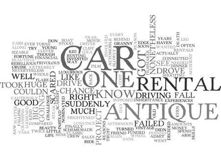 ANTIQUE CAR PARTS TEXT WORD CLOUD CONCEPT