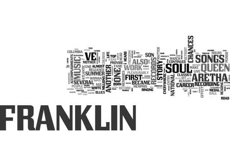 ARETHA FRANKLIN THE STORY OF THE QUEEN OF SOUL TEXT WORD CLOUD CONCEPT