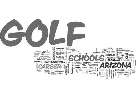 アリゾナ ゴルフ学校はテキスト単語雲概念は上部手を与える  イラスト・ベクター素材