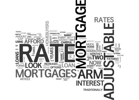 homebuyer: ARM ADJUSTABLE RATE MORTGAGES TEXT WORD CLOUD CONCEPT