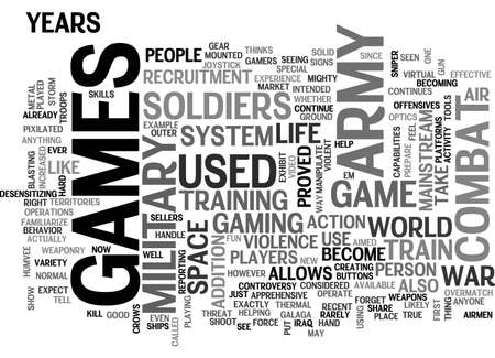 ARMY GAMES TEXT WORD CLOUD CONCEPT