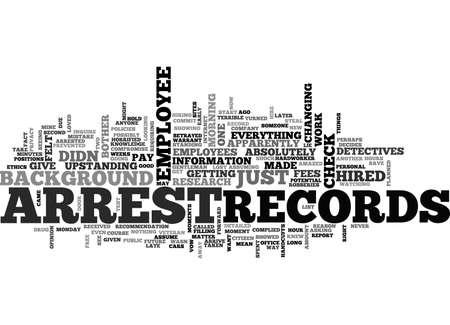 ARREST RECORDS TEXT WORD CLOUD CONCEPT