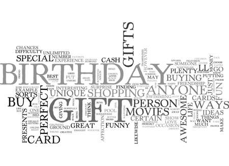 finding: AWESOME BIRTHDAY GIFTS FOR ANYONE TEXT WORD CLOUD CONCEPT Illustration