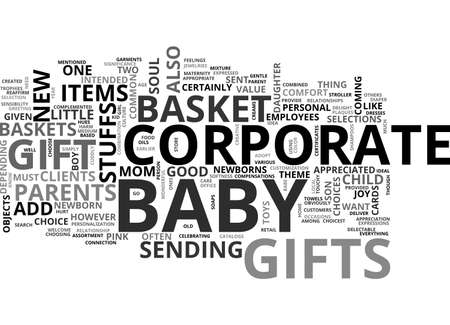 BABY BASKET CORPORATE GIFT TEXT WORD CLOUD CONCEPT