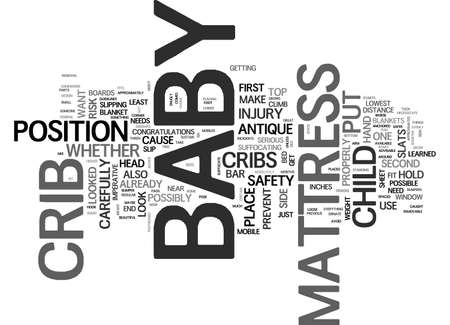 BABY CRIB ADVICE AND TIPS TEXT WORD CLOUD CONCEPT