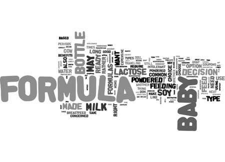 BABY FORMULA TYPES AND BENEFITS TEXT WORD CLOUD CONCEPT