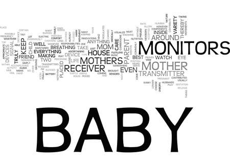 BABY MONITORS MOMS BEST FRIEND TEXT WORD CLOUD CONCEPT Illustration