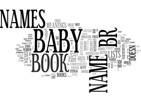 BABY NAMES BOOK REVIEW ROUNDUP TEXT WORD CLOUD CONCEPT Illustration