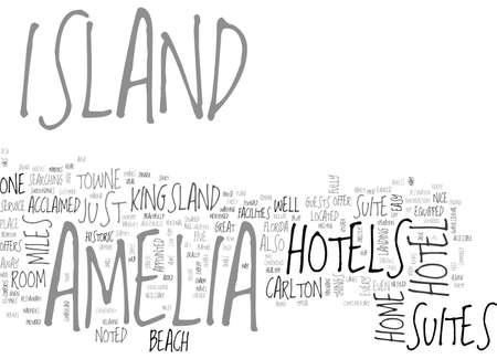 아멜리아 섬 플로리다 텍스트 단어 구름 개념