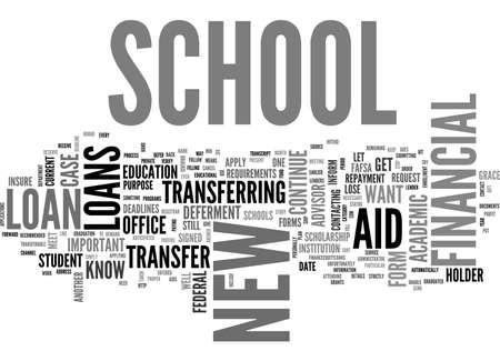 ZIJN STUDENTENLENINGEN DIE OVERSCHRIJVING VAN ÉÉN SCHOOL NAAR EEN ANDER TEKSTWOORD CLOUD CONCEPT