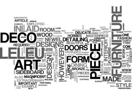 ART DECO FURNITURE A LELEU MASTERPIECE TEXT WORD CLOUD CONCEPT Stock Vector