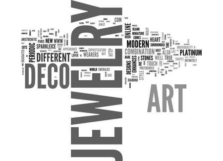 enhances: ART DECO JEWELRY TEXT WORD CLOUD CONCEPT Illustration
