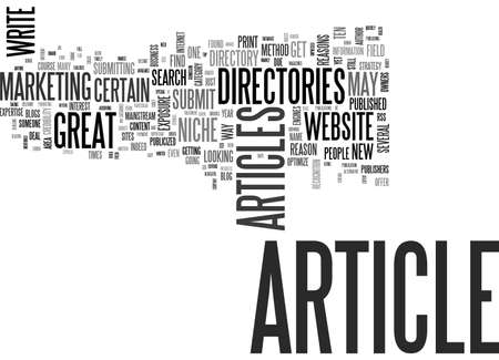 ARTICLE DIRECTORIES TEN GREAT REASONS TO SUBMIT ARTICLES TO THEM BY KEITH P STIENEKE TEXT WORD CLOUD CONCEPT Ilustração