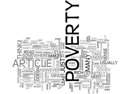 ARTICLE ON POVERTY TEXT WORD CLOUD CONCEPT