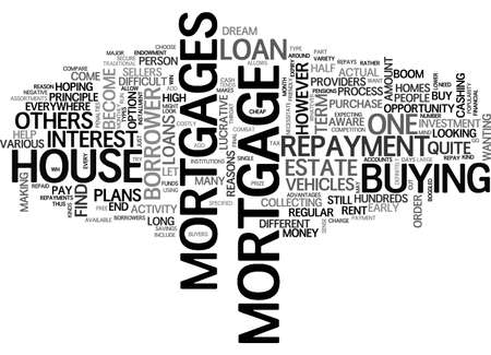 ASSORTMENTS OF MORTGAGE LOANS TEXT WORD CLOUD CONCEPT