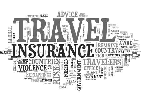 AT YOUR OWN RISK COUNTRIES WHERE TRAVEL INSURANCE WON T BE ABLE TO HELP YOU TEXT WORD CLOUD CONCEPT