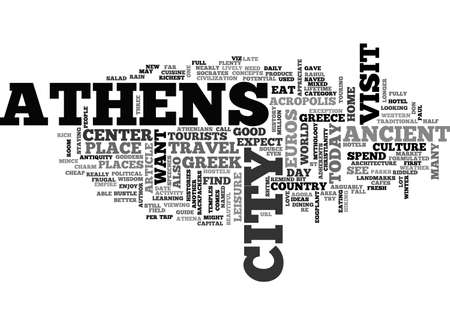 ATHENS HOTEL GUIDE TEXT WORD CLOUD CONCEPT Illustration