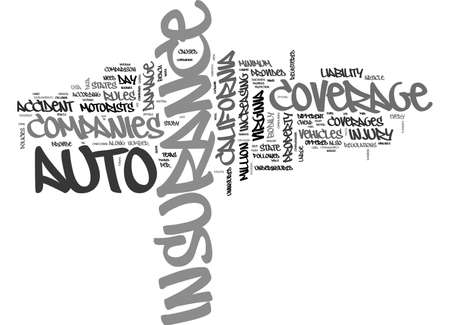 AUTO INSURANCE COMPARISON BY STATE TEXT WORD CLOUD CONCEPT Иллюстрация
