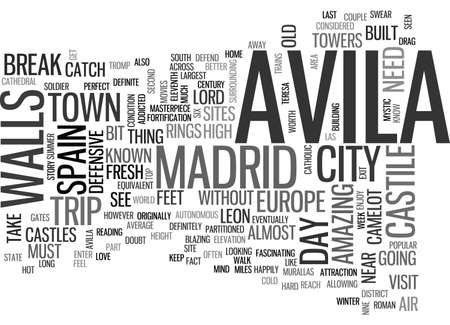 AVILA SPAIN TEXT WORD CLOUD CONCEPT