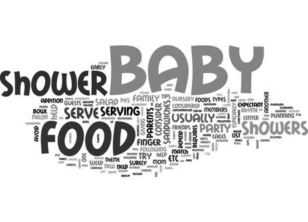BABY SHOWER FOOD TEXT WORD CLOUD CONCEPT
