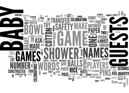 BABY SHOWER GAMES TEXT WORD CLOUD CONCEPT Stock Illustratie