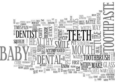 whites: BABY WAR ON PLAQUE ATTACK TEETH TEXT WORD CLOUD CONCEPT Illustration