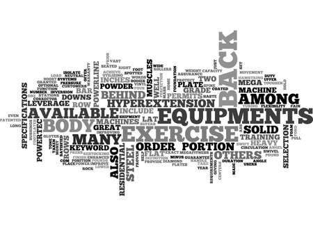 BACK EXERCISE EQUIPMENT TEXT WORD CLOUD CONCEPT