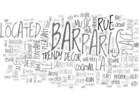 BARS IN PARIS TEXT WORD CLOUD CONCEPT