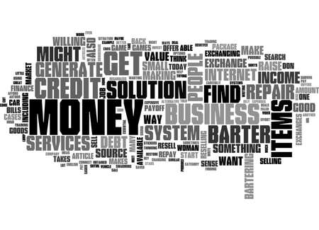 barter system: BARTER CREDIT REPAIR TEXT WORD CLOUD CONCEPT Illustration