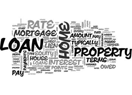 BASIC HOME LOAN TERMS EXPLAINED TEXT WORD CLOUD CONCEPT Stock Vector - 79496927